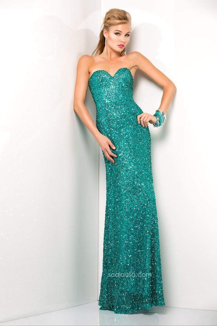 Scala 48412 Full-length strapless beaded prom gown with sweetheart neckline