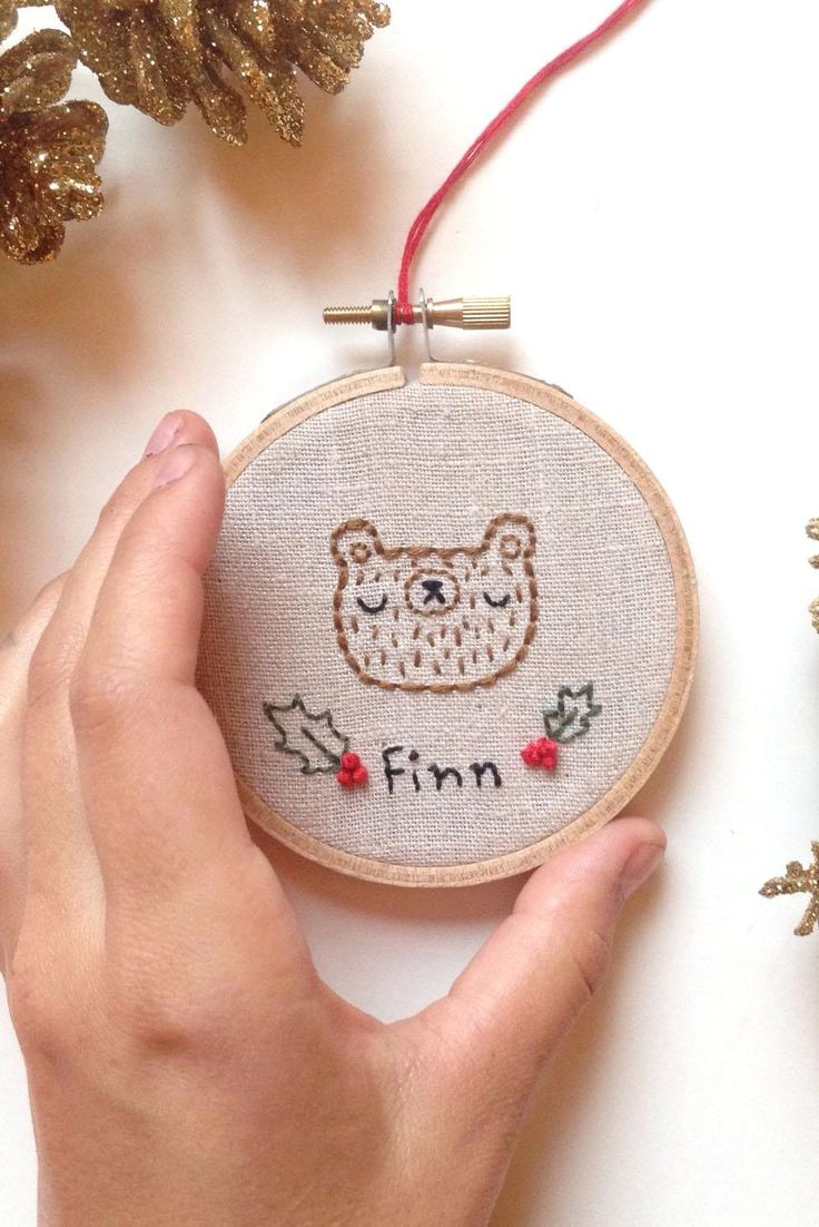 Embroidered christmas ornaments - Last One Until Personalized Name Christmas Ornament Customized Name Embroidery Embroidered Bear Hand Embroidered Christmas Ornam