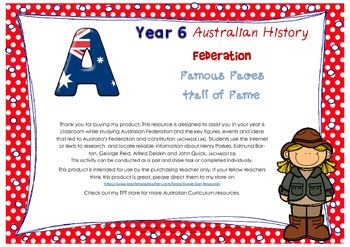 This resource is designed to assist you in your year 6 classroom while studying Australian Federation and the key figures, events and ideas that led to Australias Federation and constitution (ACHASSK134). Students use the internet or texts to research  and locate reliable information about Henry Parkes, Edmund Barton, George Reid, Alfred Deakin and John Quick. (ACHASSI123) This activity can be conducted as a pair and share task or completed individually.