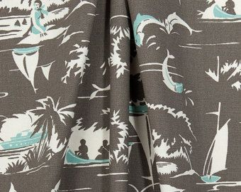 Tropical Coastal Fabric Designer Neutral Brown Blue Fabric By The Yard Curtain Fabric Upholstery Fabric