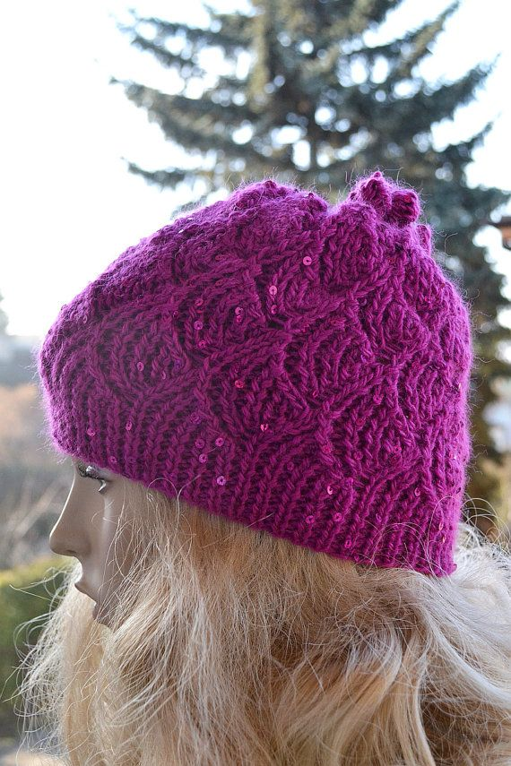 Knitted cap  hat lovely warm autumn accessories women clothing Knit Hat Womens lovely amaranth and sequins    #knitted #caap #amaranth
