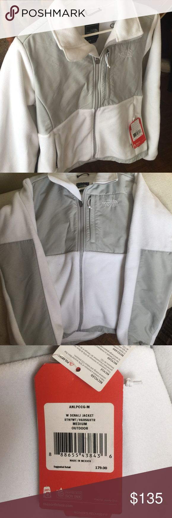 🎀🎉WEEKEND ONLY SALE🎉🎀 WOMENS WHITE NORTHFACE JACKET                STYLE IS DENALI.                                                    3 ZIPPER (OUTTER) POCKETS                             NEW WITH TAGS, NEVER WORN OR WASHED   SIZE M/M                                                           RETAIL PRICE $179 + TAX                                      🚫NO TRADE🚫 The North Face Jackets & Coats Utility Jackets