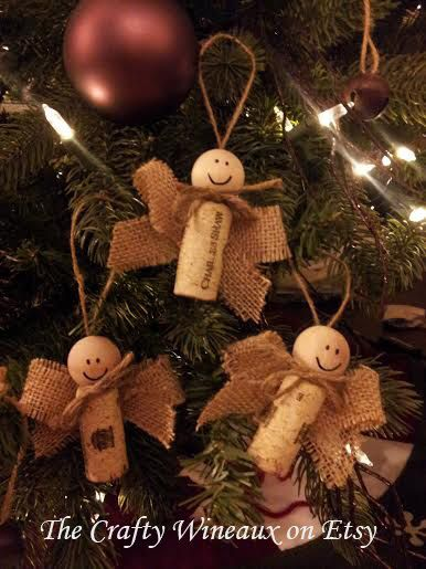 Burlap Twine and Wine Cork Angel Ornament by TheCraftyWineaux