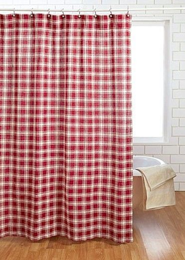 Rustic Farmhouse Red Country Style Shower Curtain Cotton Burlap - Breckenridge #VictorianHeart