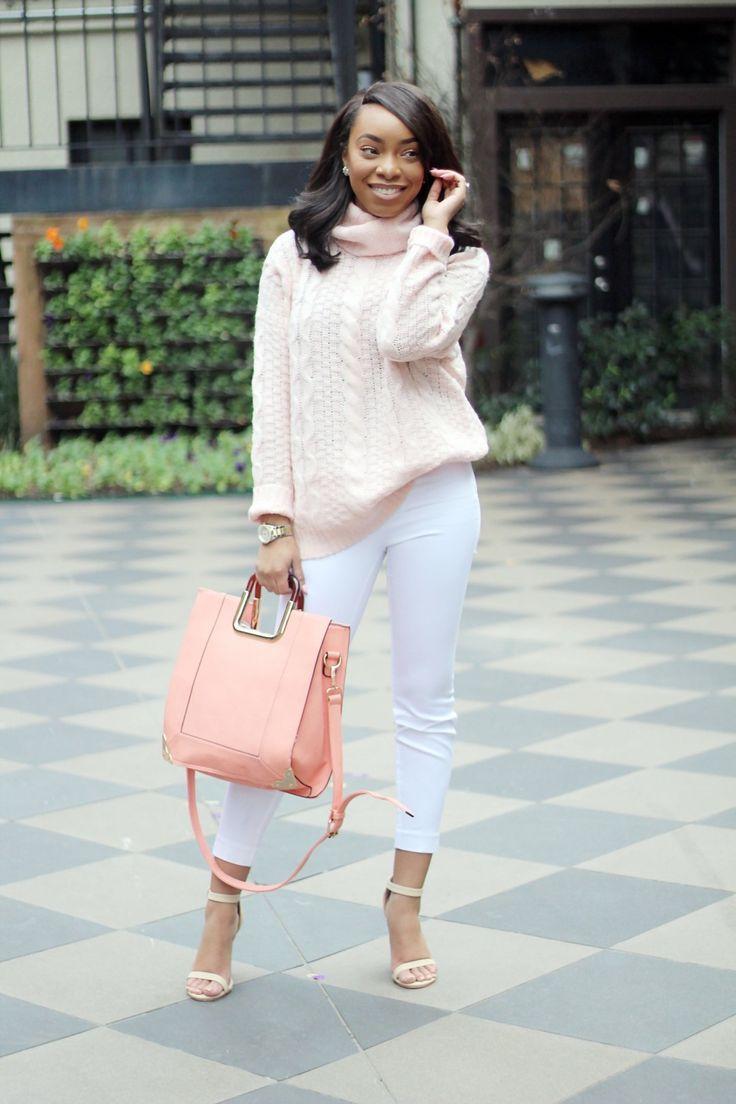 Alyra - Blush Pink Knit Sweater & White Pants