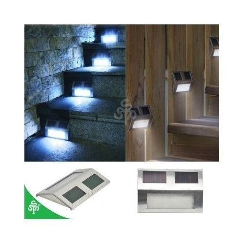Solar Step Lights 8 Stainless Steel Staircase  LED Solar Powered Dock Deck Wall