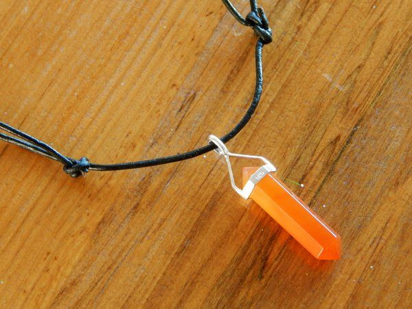 Carnelian Crystal Point Leather Necklace | Raven Boutique