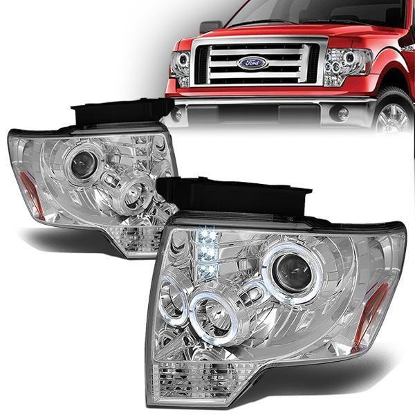 09 14 Ford F150 Led Halo Ring Projector Headlights Chrome Housing Amber Corner Projector Headlights Ford F150 Headlights