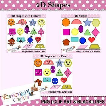 This bundle comprises my 3 2D Geometric Shapes clip art sets; that's a total of 45 images (135 in the 3 formats I provide)! You pay for 2 and get the 3rd FREE :)  Each image is PNG and 300dpi in Black & White, colored with colored outlines and colored with black outlines