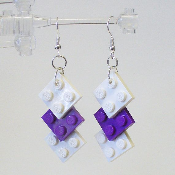 Limited Edition Mini Triple Square LEGO Earrings by FoldedFancy, $18.00