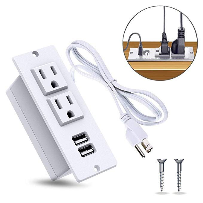 Byrne Receptacle Plug Port Pop up Counter Desk Table Power Hub Outlet Dual USB