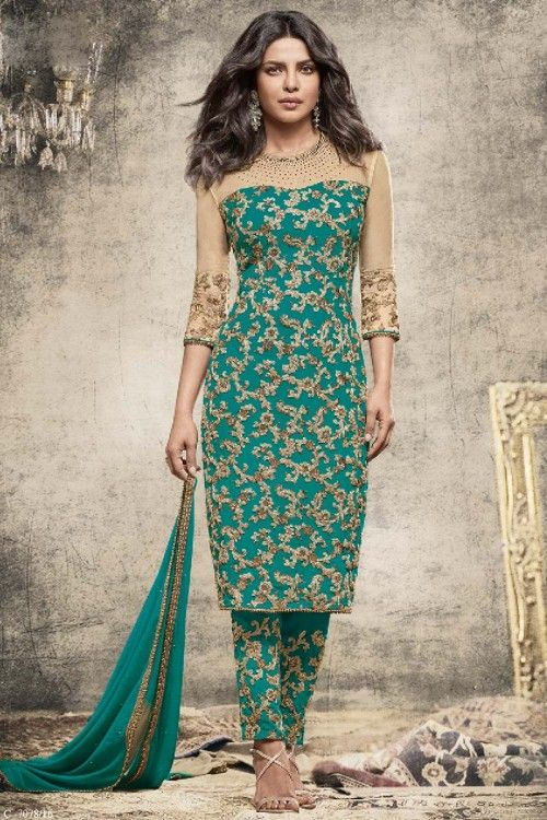 Priyanka Chopra Aqua Green Georgette Trouser Suit With Dupatta    http://www.andaazfashion.co.uk/bollywood-trouser-suits