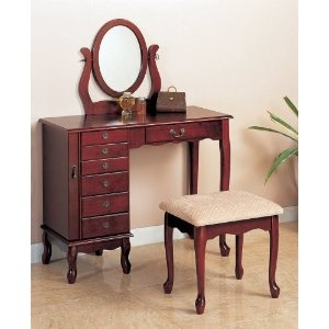 Cherry vanity with table bench set makeup make up table for Bedroom vanity canada