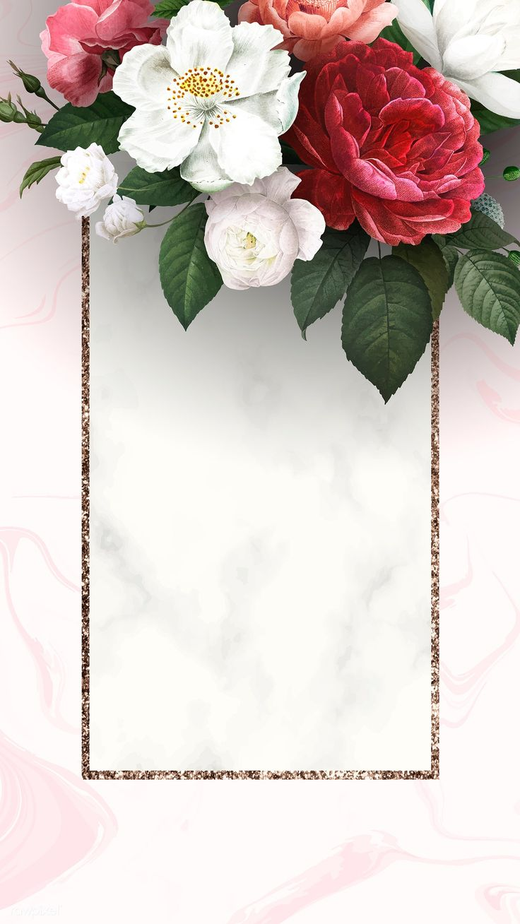 Floral frame on a marble textured background vector | premium image by rawpixel….