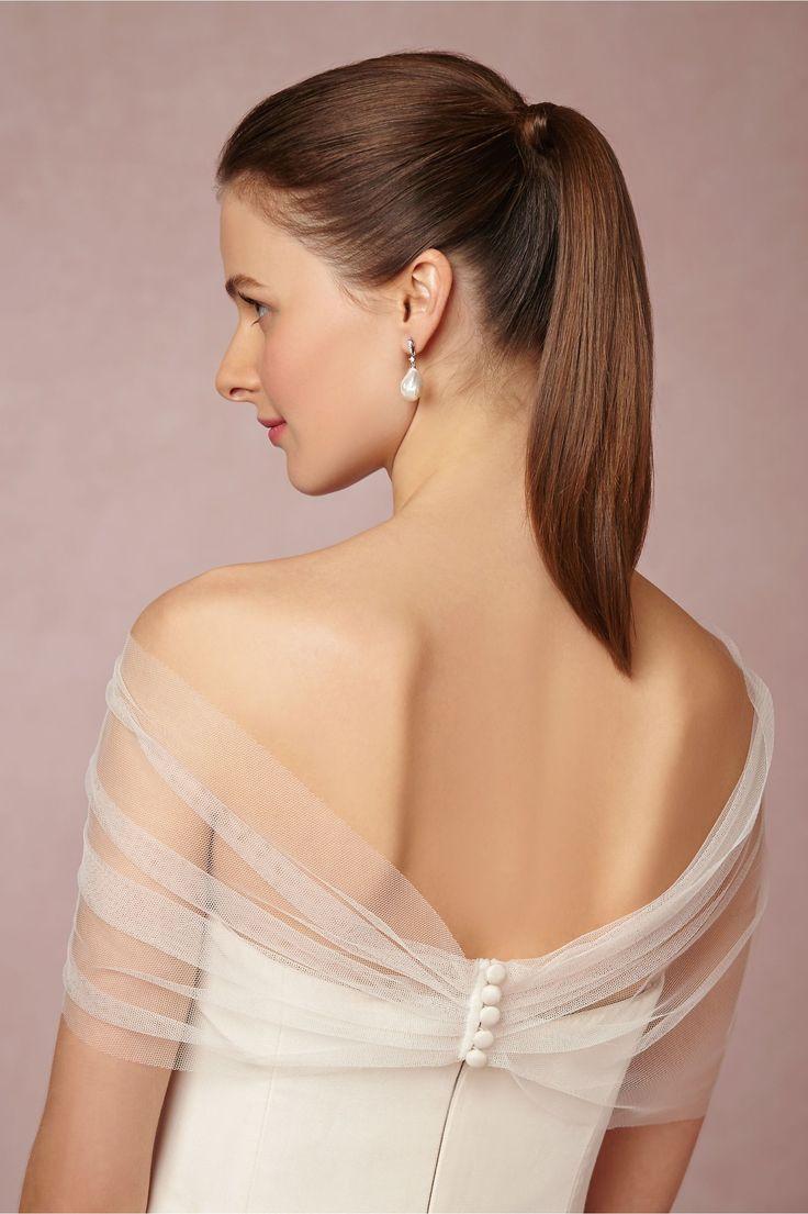 stola per abito da sposa in tulle con pizzo aplicato