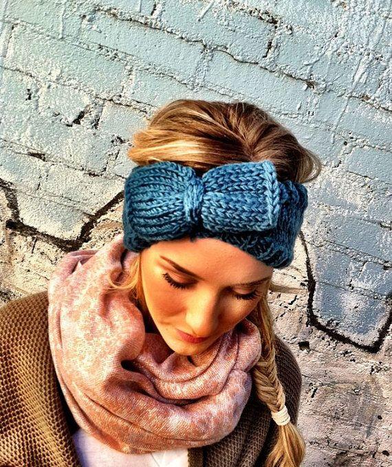 Teal Crochet Headband - Bow Knitted Ear Warmer Hat -Headband head bands Hair Coverings