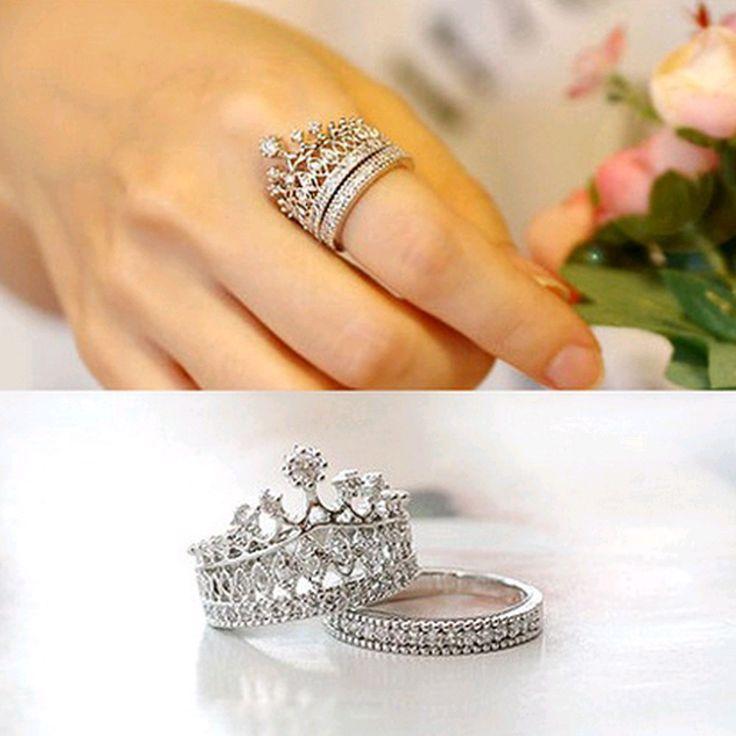2016 Nuevos accesorios de moda de calidad Superior de la joyería de cristal anillo de dedo de la corona Imperial para la muchacha mujeres bonito regalo
