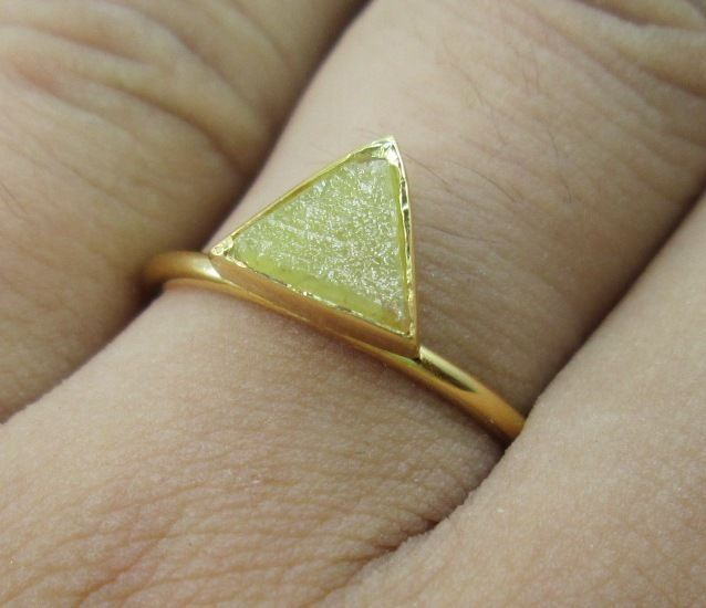 NATURAL REAL YELLOW BROWN COLOR TRIANGLE ROUGH DIAMOND RING 14K GOLD #BIGDIAMONDS #Solitaire