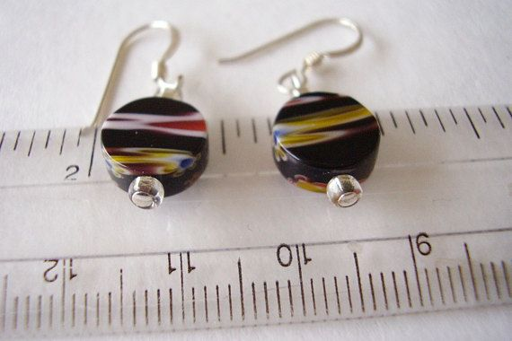 925 Earrings Murano Small Millefiori Abstract Discs in Black