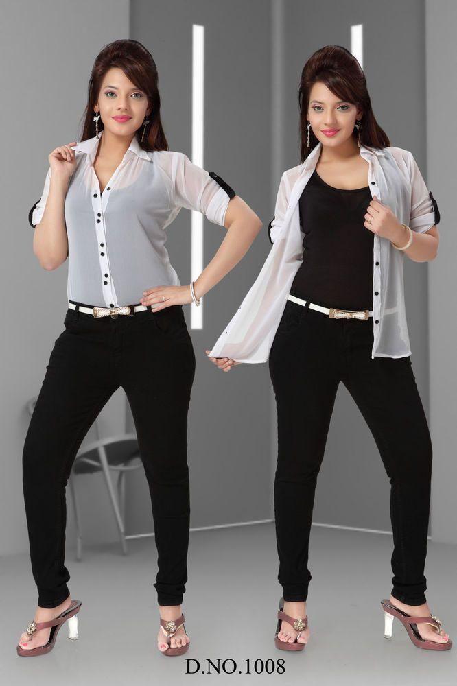 Women Girl Top Georgette Transparent White Shirt + Free Black Inner