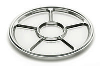 Metallised plastic 6 compartment platter from Mozaik by Sabert, perfect for buffets or parties. Designed to be disposable but can be reused with careful washing. Looks like metal.