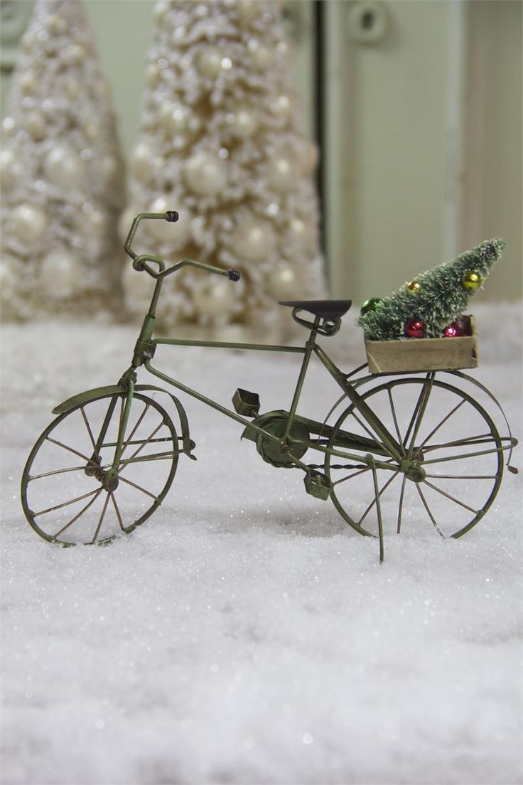 Ice cycle ornaments - Tin Bicycle Ornament With Tree