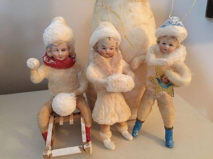 Wattefigur mit Porzellankopf,Wintermädchen für Federbaum, JDL, Shabby,Vintage