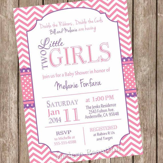 Twin Girls Baby Shower Invitation, Pink and Purple, Chevron Baby Shower Invitation, Printable, Personalized on Etsy, $13.00