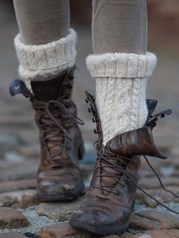 Have you seen the new boot socks? They are usually wool knit socks in neat patterns that keep you warm and give to the aura of a fashion genie. Mariah:)