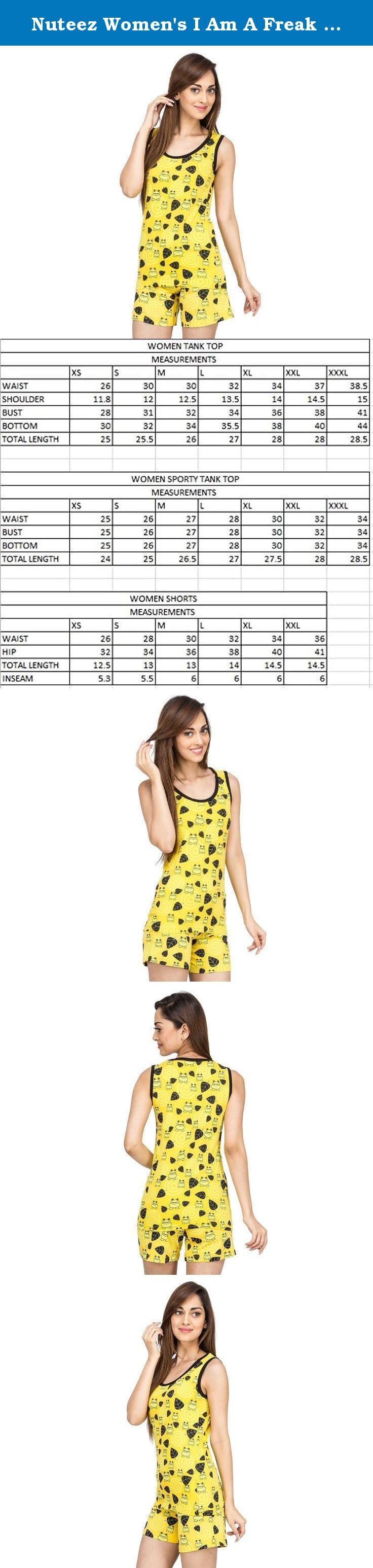 Nuteez Women's I Am A Freak Cotton Tank Top And Shorts Set X-Large Yellow. AOP TANK TOP & SHORTS SET IN 100% COTTON.