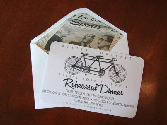 Vintage Bicycle Rehearsal Dinner Invitations: Rehear Invitations, Bicycles Rehearsal, Tandem Bike, Dinners Cards, Rehearsal Dinners Invitations, Vintage Bicycles, Invitations Cards, Rehear Dinners Invitations, Bike Rehear