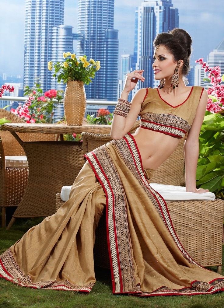 Tantalizing Beige Brown Royal Looking Embroidered #Saree