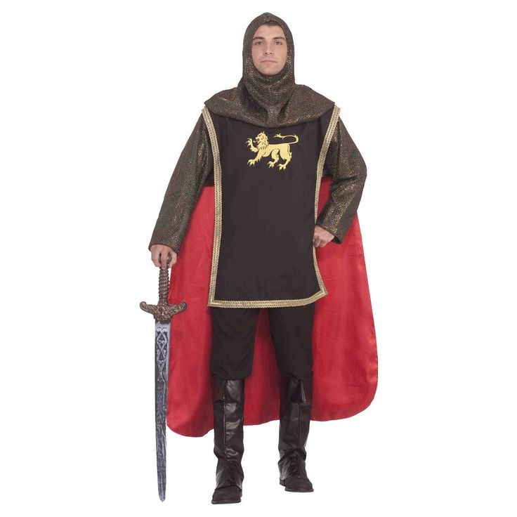 Men's Medieval Knight Costume Kit - One Size Fits Most, Multi-Colored