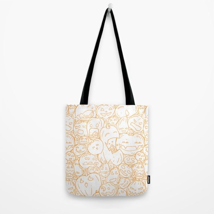 Pumpkin Halloween line pattern Tote Bag by StrijkDesign | Society6