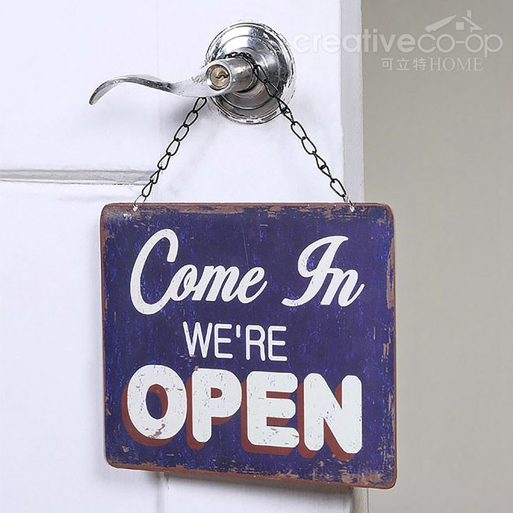 """Bistro Blue Tin """"Open & Closed"""" 2-Side Sign ☆ Creative ..."""