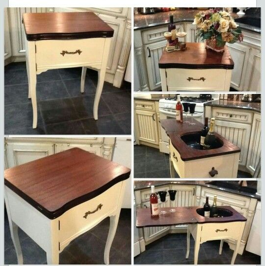 Vintage sewing machine cabinet becomes a bar !