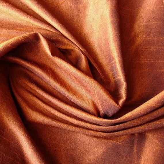 Dark Rust Art Silk Fabric By The Yard Silk Curtain…