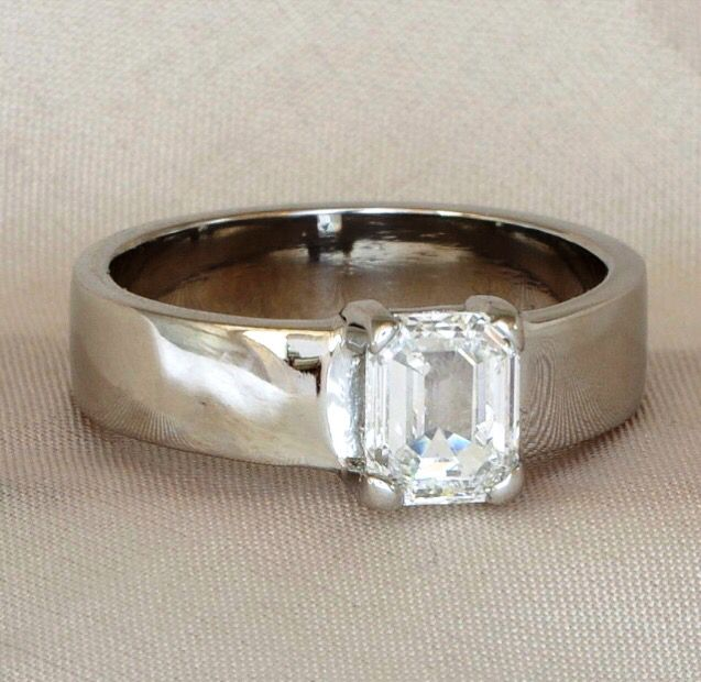 clawset diamond and broad band white gold ring