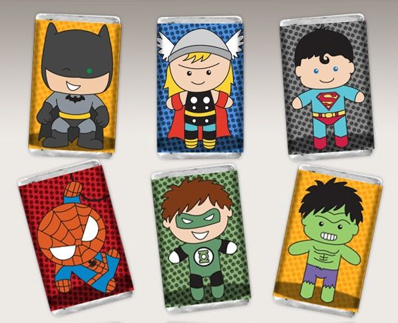 Adorable printable superhero candy wrappers from Lil Faces