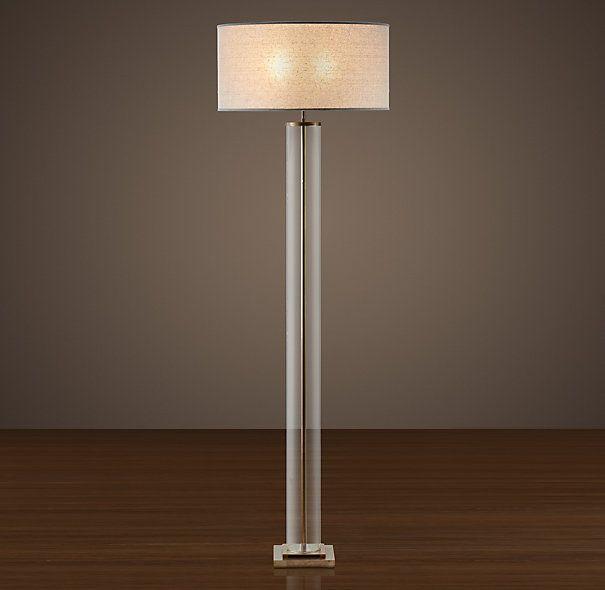 RESTORATION HARDWARE FRENCH COLUMN GLASS FLOOR LAMP ANTIQUE BRASS $425