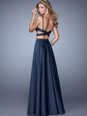 Two Piece A-Line/Princess Sleeveless Straps Chiffon Floor-Length Dresses