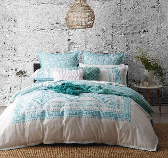 Meandros Quilt Cover Set Range Teal | Manchester Warehouse