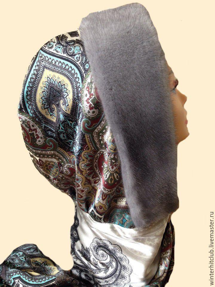 Купить Утепленный шелковый капюшон с норкой - голубой, пейсли, шапка зимняя, капор, шуба из норки