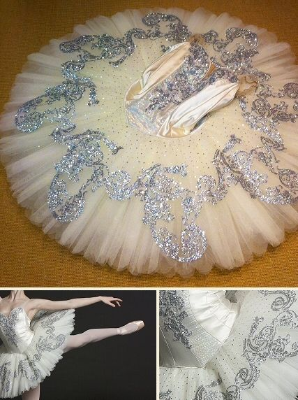 silver glitter embellished classical ballet tutu on ivory