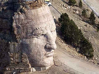 Crazyhorse Monument, Black Hills, South Dakota.  The building of the monument is still in process...you can watch them work and see the final plan.  I brought home a chunk of granite they blasted off the hill....it is in my rock garden. janette_knittel
