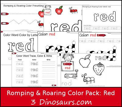 FREE Romping & Roaring Color Word Red Pack - 8 pages of activities focused on the color word red- 3Dinosaurs.com