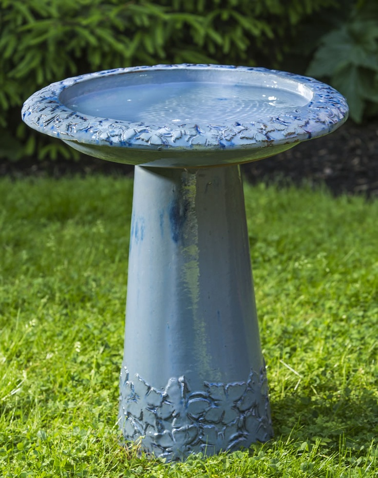 Ceramic Butterfly Birdbath In French Blue Beautiful Butterflies Adorn The Top Of This