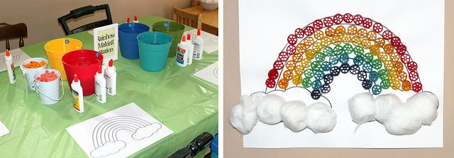 April Showers party theme: rainbow macaroni craft + coloring activity