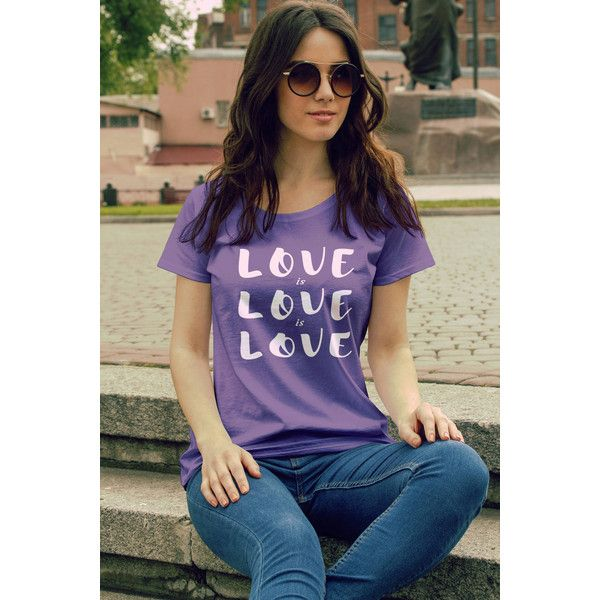 Feminist Tshirt Love Is Love Is Love Fourth Wave Feminist Apparel... ($22) ❤ liked on Polyvore featuring tops, t-shirts, purple, women's clothing, fitted t shirts, colorful t shirts, off the shoulder t shirt, lightweight t shirts and off the shoulder shirts