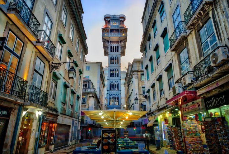 https://flic.kr/p/SWeVnp | Lisbon Lift | This is the famous old elevator here in Lisbon, Portugal that we saw last night. It's called the Santa Justa Lift and connects the low parts of Baixa with the much higher Carmo Square. I didn't realize how hilly it is here… like a Portuguese San Francisco!